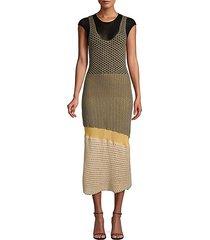 crocheted cotton-blend midi dress