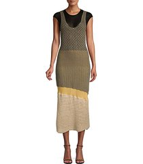 crocheted cotton-blend midi dress