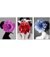 quadro 60x120cm canvas eyra mulher com flores - tricae