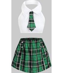 tie plaid slit sailor style plus size students costume set