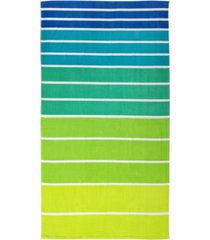 martha stewart collection ombre stripe velour beach towel, created for macy's bedding