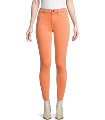 frame women's le high skinny raw-hem ankle jeans - orange crush - size 26 (2-4)