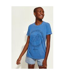 t-shirt feminina mindset obvious signos gêmeos manga curta decote redondo azul