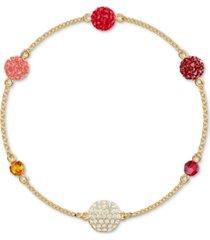 swarovski remix gold-tone multicolor pave fireball & bead magnetic bracelet