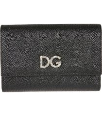 dolce & gabbana crystal embellished logo snap button wallet