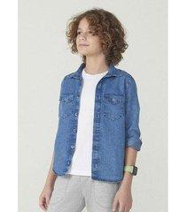 camisa hering em jeans manga longa masculina - masculino