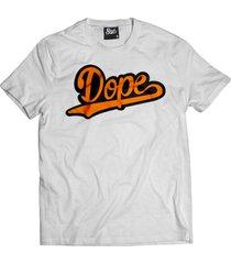 camiseta manga curta skull clothing dope laranja branco