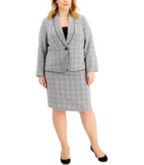 le suit plus size plaid houndstooth skirt suit