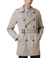 abrigo de solapa casual cálido para hombres chaqueta cortavientos de doble botonadura invierno