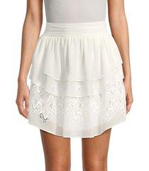 iro women's mugue lace-inset tiered skirt - white - size 34 (2)