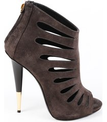giuseppe zanotti gray suede cut out stiletto booties gray sz: 6.5