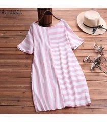 zanzea para mujer de la playa del verano rayado ocasional camisa floja de vestir de las señoras mini vestidos -rojo