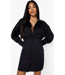 oversized satijnen blazer jurk met uitsnijding, black
