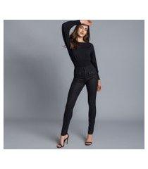 lez a lez - calça jeans jegging resinada preto reativo