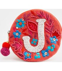 j round initial coin pouch - coral