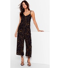 womens draw me like relaxed floral jumpsuit - black
