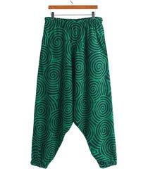hombres estilo nacional único redondo impreso bohemio pierna ancha suelta pantalones