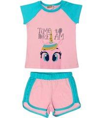 conjunto pijama do unicã³rnio douvelin rosa - azul/rosa - menina - algodã£o - dafiti