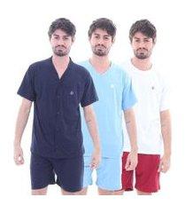 kit 3 pijamas algodão curto masculino mechler