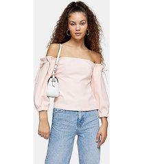 blush pink tie shoulder crepe bardot blouse - blush