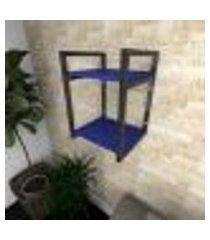 prateleira industrial para sala aço preto prateleiras 30 cm cor azul escuro modelo ind24azsl