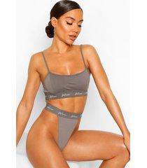 woman string met elastische band, grijs