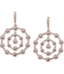 anne klein crystal orbital drop hoop earrings