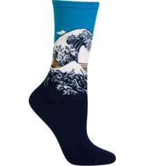 hot sox women's hokusai's great wave fashion crew socks