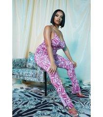 plus halloween geld print pyjama met zijsplit, roze