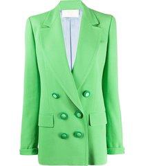 sara battaglia double-breasted boyfriend blazer - green