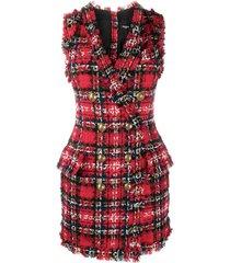 balmain sleeveless blazer dress - red