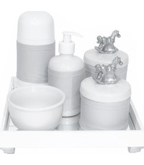 kit higiene espelho completo porcelanas, garrafa pequena e capa cavalinho prata quarto bebê unissex