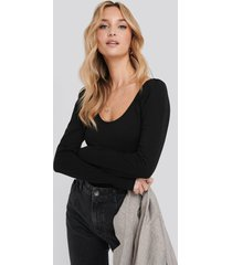 na-kd puff sleeve body - black