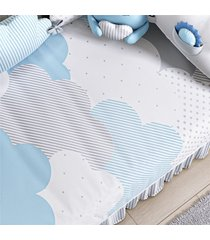 edredom beb㪠nuvem de algodã£o azul estampado grã£o de gente azul - azul - menino - dafiti