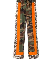p.a.r.o.s.h. samuflage patchwork print trousers - green