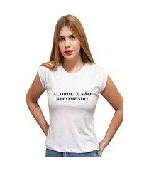 """t-shirt 100% algodão estampa frase """"acor"""""""