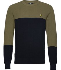 colour block knitted jumper gebreide trui met ronde kraag groen lyle & scott