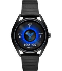 emporio armani men's black rubber strap touchscreen smart watch 43mm