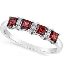 garnet (7/8 ct. t.w.) and diamond accent ring in sterling silver (also available in other gemstones)