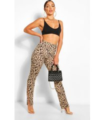 leopard chill out split hem legging, brown