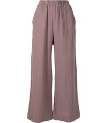 0711 textured-effect flared trousers