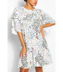 gesmokte bloemenprint jurk met ruches, wit