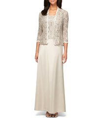 women's alex evenings sequin lace & satin gown with jacket, size 10 - beige