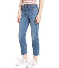 women's levi's wedgie raw hem high waist straight leg jeans