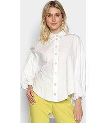 camisa manga longa colcci lisa com botões feminina