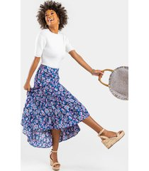 eve tiered paisley maxi skirt - navy