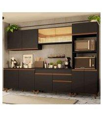 cozinha completa madesa reims 310001 com armário e balcão preto preto