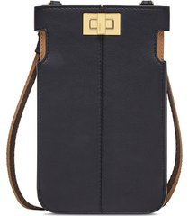 fendi peek-a-phone on-strap purse - black