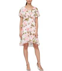 sl fashions floral-print tiered chiffon dress