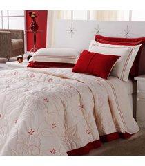 colcha / cobre leito cama queen 150 fios em palha com vermelho com 05 peã§as - cobre leito belle - aquarela - bege - dafiti